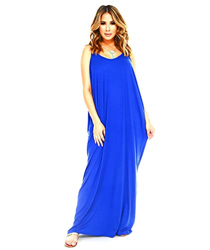 (Isaac Liev Women's Casual Loose Long Maxi Dress Spaghetti Strap Dress with Pockets (Large, Royal)