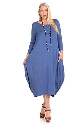 Pastel by Vivienne Women's Cocoon Midi Dress Plus Size XXX-Large Denim
