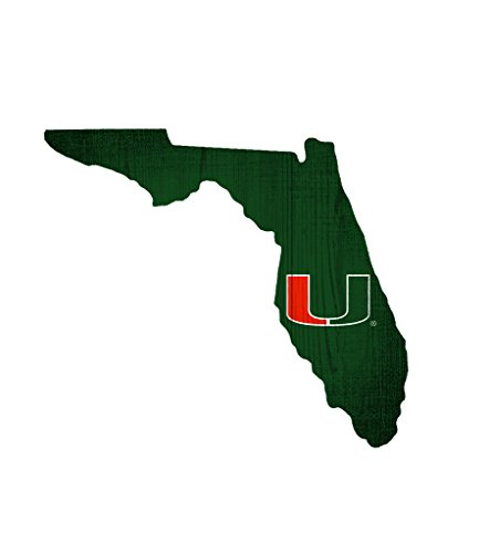 Fan Creations Miami Hurricanes Wood Sign 12 Inch State Shape - Sign Miami Wood