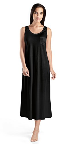 HANRO Women's Cotton Deluxe Long Tank Gown, Black, Medium ()