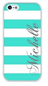Personalized Turquoise and White Stripes Pattern APPLE IPHONE 5 or 5S Best Durable Rubber+PVC Cover Case By Perfect Arts