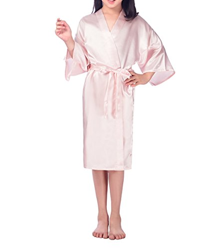 Price comparison product image SexyTown Girls' Kimono Robe Satin Bridal Nightgown For Wedding Party Birthday 8 Pink