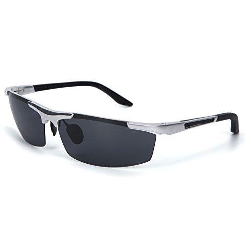 YJMILL New Aluminum magnesium Polarized Sunglasses Retro Pilots Riding Fishing Golf Travel Sports Sunglasses Men 8530 (Silver-gray, - Retro Ski Sunglasses
