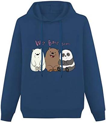 Mens We Bare Bears Hoodies Long Sleeve Pullover Loose Hoody Sweatershirt Size