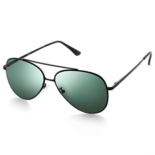 LotFancy Aviator Sunglasses for Women, Flat Lens Sunglasses with Case, UV400 Protection, 58MM, Eyewear for Driving Fishing Sports, Non Polarized, Green Lens, Black Metal Frame ()