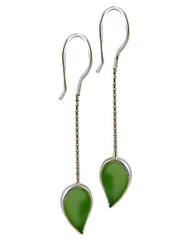 American Made Green Leaf Authentic Sea Glass and Sterling Dangle Earrings (Glass Sea Bezel)