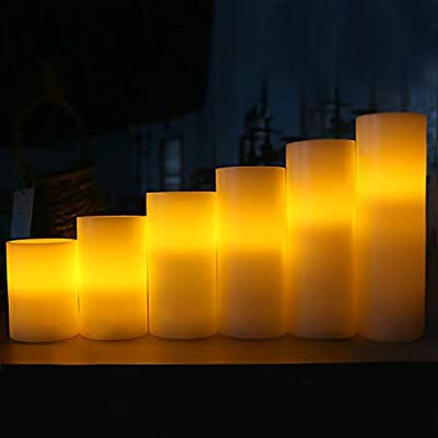 AMAGIC Pack of 6 Flameless Candles with Remote and Timer - Wax LED Pillar Candles Bulk, Battery Operated Candles for Home Decorations and Gifts(Ivory, H 4