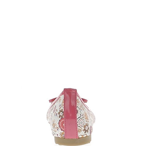 Ballerines multicolores avec noeud et liseré roses micro perforées