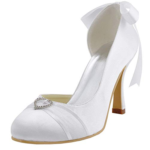 Satin Satin Satin White Toe MZ591 White Round Heel Dimensione ZHRUI ZHRUI ZHRUI 9cm Pump Ribbon Womens Colore 3 9cm Stiletto Heel UK Bridal Heel g8qxdtPF