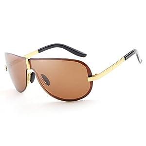 HDCRAFTER Men's Fashion Oversized Rimless Polarized Outdoor Driving Sunglasses UV400 Anti-Reflective Eyewear
