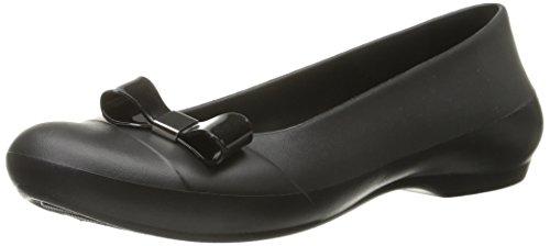 crocs Women's Gianna Bow Ballet Flat, Black/Black, 7 B US