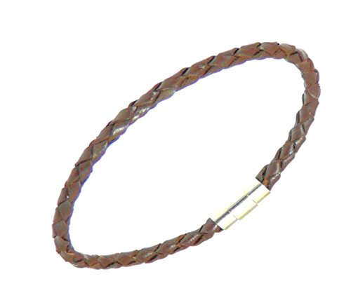 Neptune Giftware Mens Plaited Dark Brown Leather Strap Bracelet Wristband - (Max Wrist Size 20cm) - 190