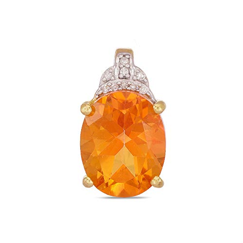 (Gold Plated 925 Sterling Silver Oval Shaped Padparadscha Quartz Solitaire Pendant with Natural Diamonds For Ladies Without Chain)
