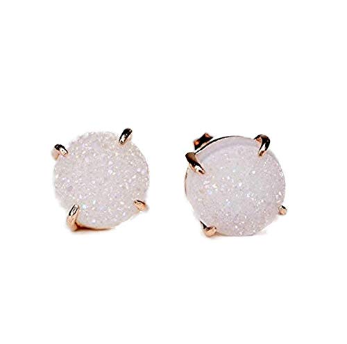 - ZENGORI 1 Pair 10mm Brilliant Round Rose Gold Plated Claw Titanium Crystal White Natural Druzy Stud Earrings (White)