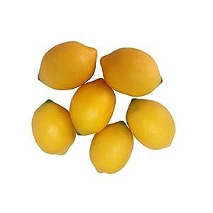 6 PCS Lifelike Fake Fruit Artificial Yellow Lemons Tabletop Kitchen Party Photograph Decoration 66