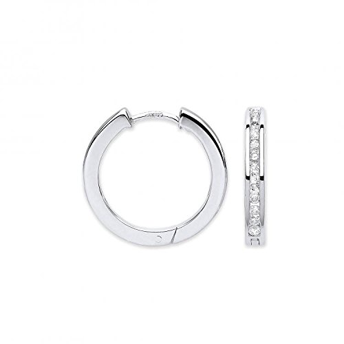 Jareeya-9ct or blanc 0,50CT Diamant Boucles d'oreilles créoles