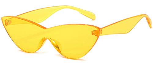 Colorful One Piece Rimless Transparent Cat Eye Sunglasses for Women Tinted Candy Color Eyewear (Yellow)