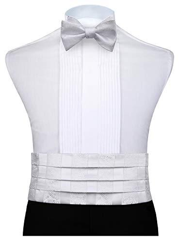 HISDERN Paisley Men's Cummerbund Bow Tie and Handkerchief Set White