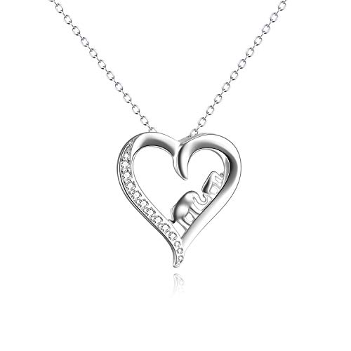 (YFN Mom Baby Elephant Necklace Sterling Silver Good Luck Elephant Heart Necklace for Mon Women)