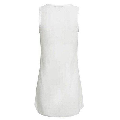 Shirt Bluse Damen Weiß Ärmellos aushöhlen Weste 02 zurück Elegant Vorne Reißverschluss Tops Unregelmäßigkeit Ausschnitt Unterhemd Chiffon Frauen Tank V T Sommer Rovinci Hemdbluse dOqE1E