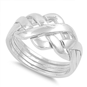 925 Sterling Silver Infinity Puzzle Knot Ring 11MM Size 9 (Silver 925 Puzzle Ring Sterling)