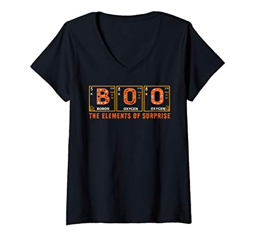 Womens Halloween BOO Primary Elements of Surprise Science  V-Neck T-Shirt -