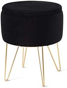 Mxfurhawa Modern Round Velvet Footrest Stool Ottoman