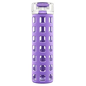 Ello Syndicate BPA-Free Glass Water Bottle with Flip Lid, Purple, 20 oz.