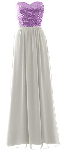 Long Chiffon Ivory Elegant Party Bridesmaid Sequin MACloth Dress Strapless Lavender Formal Gown 4wqWBO