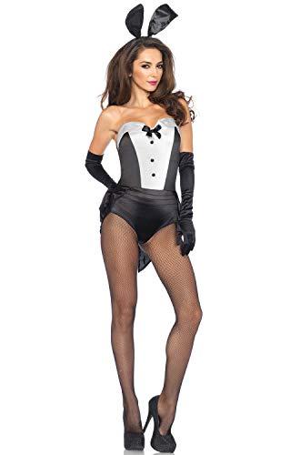 Leg Avenue Women's 3 Piece Classic Bunny Costume, Black/White, Small -