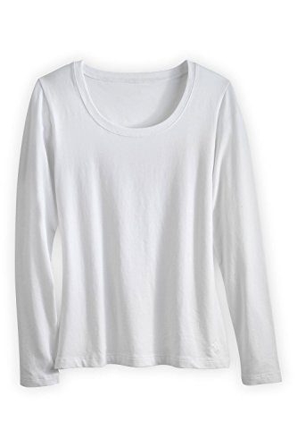 - Fair Indigo Fair Trade Organic Essential Long Sleeve Scoop Neck Tee (L, White)