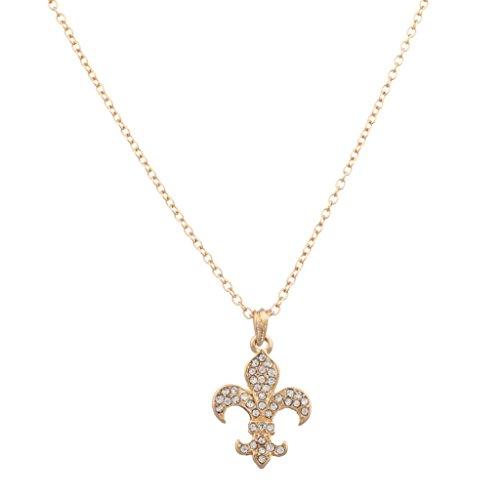 Lux Accessories Fleur De Lis Saints Pave Pendant - Lis 12147 Fleur De