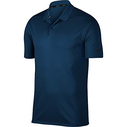 Nike Men's Dry Victory Solid Polo Golf Shirt, College Navy/Black, Medium (Nike Waffle Shirt)