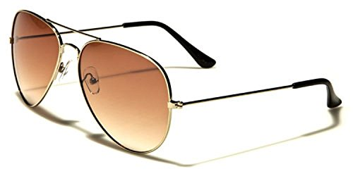 MJ Eyewear Classic Air Force Aviator Style Sunglasses (Gradient Gold - Gradient Mens Sunglasses Brown