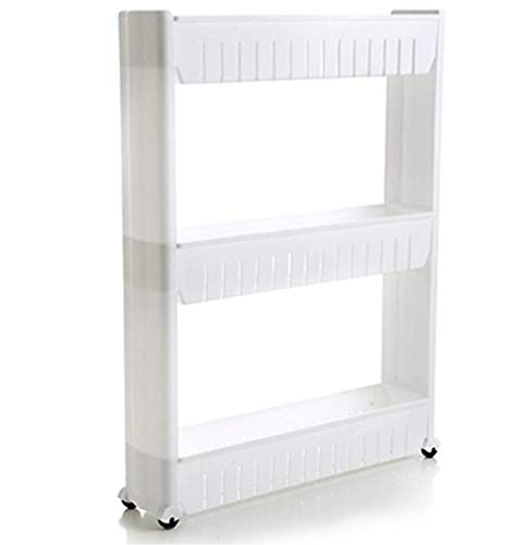 Slim Storage Cart,Mobile Shelving Unit Organizer with 3 Large Storage Baskets, Slim Slide Out Pantry Storage Rack for Narrow Spaces By Cq acrylic ()