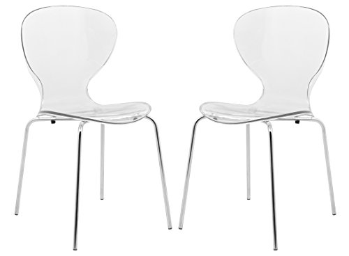 LeisureMod Modern Oyster Side Chair (Set of 2), Clear