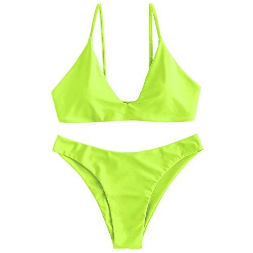 ZAFUL Women's Tie Back Padded High Cut Bralette Bikini Set Two Piece Swimsuit (Green Yellow, M) (Small Padded Bikini)