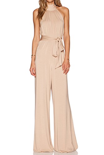 MARSEN Women's Halter Backless Rompers Long High Neck Party Jumpsuits with Belt Nude Size 6 by MARSEN