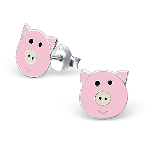 Piggy Earrings - Cute Pink Pig Earrings Posts Studs Stering Silver 925 (E22244)
