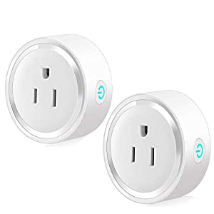 Smart Plug 2-Pack Mini Smart Outlet WiFi Smart Switch Compatible with Alexa & Google Home, No Hub Required, Remote Control Your Device from Anywhere, Timing Function
