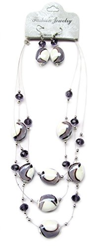 Linpeng Necklace Earrings Jewelry Set/ Lilac Swirl Lampwork and Crystal Beads/  Length 21
