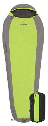(TETON Sports TrailHead Ultralight Mummy Sleeping Bag; Lightweight Backpacking Sleeping Bag for Hiking and Camping Outdoors; Stuff Sack Included; Never Roll Your Sleeping Bag Again; Green/Grey)