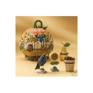 - Jim Shore Heartwood Creek 5 Piece Set Pumpkin Container with Lid and Mini Figurines