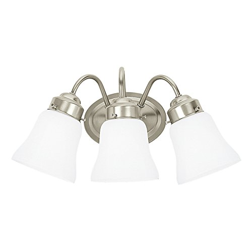 Three Lite Bath Vanity Light (Sea Gull Lighting 44020-962 Westmont Three-Light Bath or Wall Light Fixture with Satin White Glass Shades, Brushed Nickel Finish)