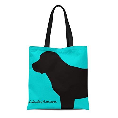 - Semtomn Cotton Line Canvas Tote Bag Yellow Dog Labrador Retriever Black Lab Chocolate Love Lovers Reusable Handbag Shoulder Grocery Shopping Bags