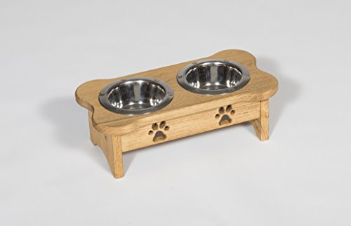 Tall Pint Double Dog Bowl - Bone Shaped - Light Walnut Stain