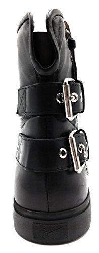 Giuseppe Zanotti Nappa Leather Zip & Buckle Moto Lounge Sneaker Bota