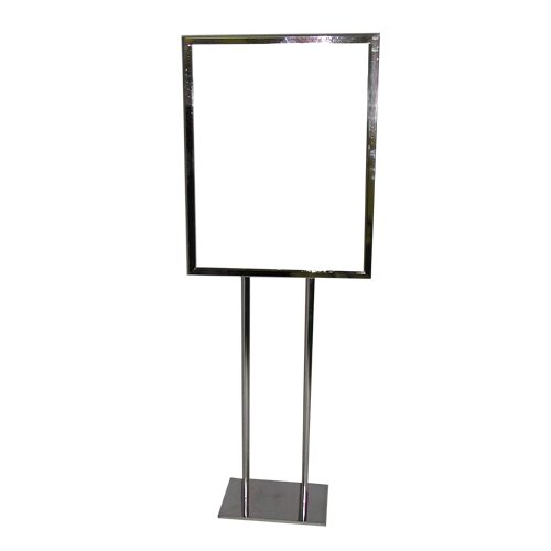 2 Pole Twin Pole Floor Standing Bulletin Holder Poster Sign Stand for 22 x 28 Inch Insert (Floor Model Sign Holder)