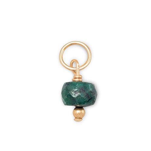 14k Gold-filled Dyed Green Beryl May Birthday Bead Charm - Beryl Green Pendant