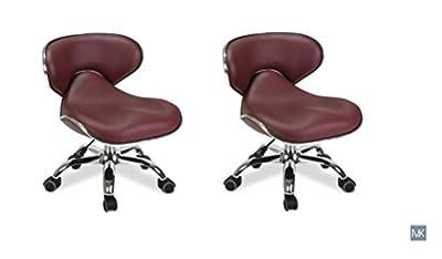 MAYAKOBA SET OF 2 Nail Salon Pedicure Stool UMI BURGUNDY Pedicure Chair Short Adjustable Comfort Pneumatic Pump Salon Furniture & Equipment